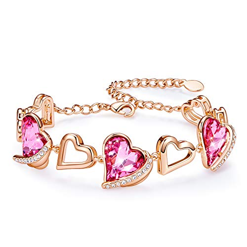 CDE Rose Gold Tennis Armband Armreif Mutter Armband Sterling Silber 925 mit Pink Embellished with Crystals from Swarovski mit Geschenkbox, ldeal Mutterstag Valentinstag - Armband Gold Rose Armreif