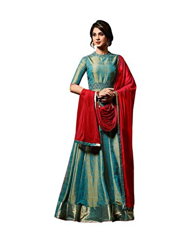 Ethnic Empire Women\'s Banaracy Silk Semi Stitched Anarkali Salwar Suits (Dharuva_Erty10792_Teal Blue)