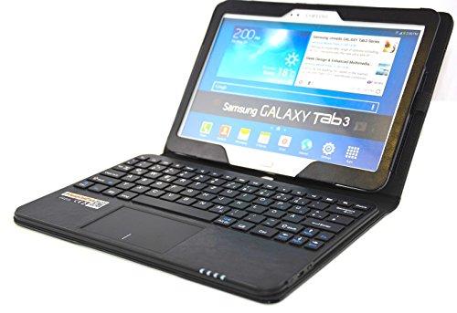 SonnyGoldTech pour Samsung Galaxy Tab 3 10.1 - Housse avec clavier et pavé tactile intégré, Clavier français (AZERTY) | Pochette avec clavier Bluetooth et pavé tactile pour Galaxy Tab 3 10.1 GT-P5200, Galaxy Tab 3 10.1 Wi-Fi GT-P5210, Galaxy Tab 3 10.1 LTE GT-P5220 | Etui avec clavier Bluetooth et pavé tactile | Noir