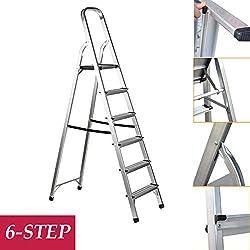 Stepladder 6 Step Folding Ladder 150kg Capacity Anti-Slip Aluminium Light Weight Portable for Home Garden Works Indoor Outdoor