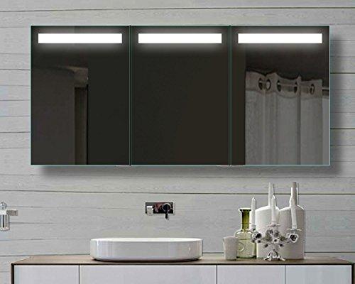 Alu Spiegelschrank mit LED Beleuchtung, 150 cm