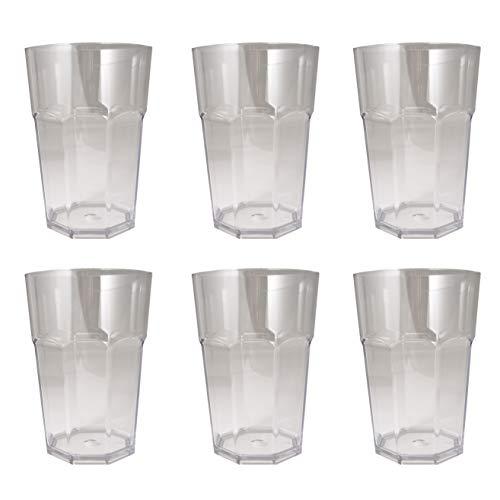 Omada design set 6 bicchieri alti in plastica infrangibile, capacità 42.5 cl e altezza 12.5 cm, lavabili in lavastoviglie, perfettamente impilabili, linea unglassy, colore trasparente
