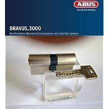 ABUS Bravus. 2000 Seguridad - Cilindro doble con 3 llaves, Largo 35/35mm con Tarjeta de seguridad y más alto Protección de copiadora, Equipo adicional: Necesario u. Función de riesgo