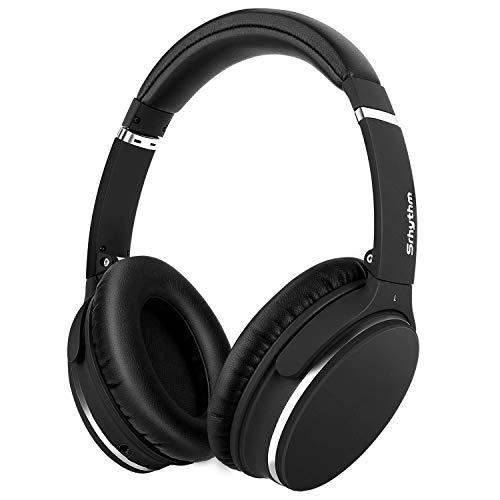 Casque Bluetooth sans Fil à Réduction de Bruit Active, Casque Audio Stéréo HD Plug and Play avec 16H / Basse Profonde/Double Capteur 40mm / Micro Intégré, Srhythm Version NC-25 (Mat-Noir)