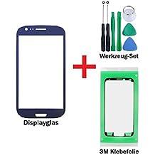 iTech Germany Pantalla de cristal kit de reparación para Samsung Galaxy S3 Mini en Azul - Panel frontal táctil para i8190 i8195 i8200 + 3M Adhesivo y de 7-Piezas Juego de herramientas