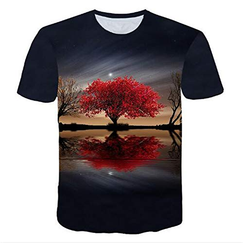 Bedruckte Herren T-Shirts für den Sommer Vintage und Urlaub Lässige Neuheit Cool Travel T-Shirt mit kurzen Ärmeln,3D Gedruckter Baum schwarz 2XL