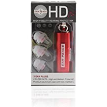 EarPeace HD Ear Plugs - High Fidelity Hearing Protection for Concerts & Music Professionals Clear Plugs, Red Case