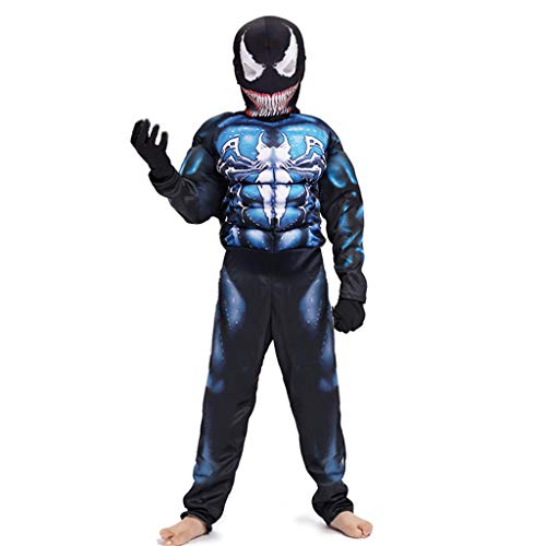 TOYSSKYR Venom Cosplay Muskel-elastische Körper-Strumpfhosen Spielkleidung Schwarz Spiderman Kinder Movie Show Kostüm Requisiten (Farbe : Blau, größe : M) (Muskel Mann Kostüm Kinder)