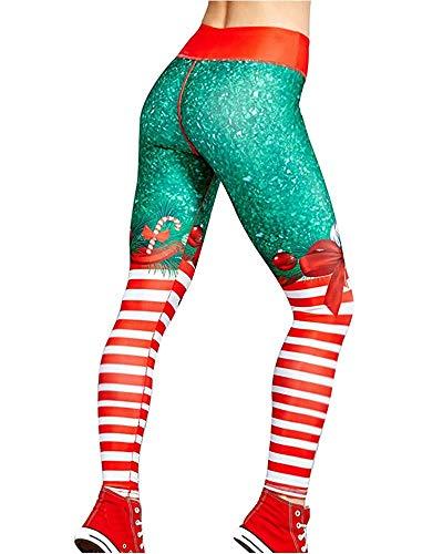 Tomwell Leggins para Damas Patrón de Navidad Pantalones Deportivos Largos para Training Running Yoga Fitness Transpirables con Cintura Alta 1 Verde Small