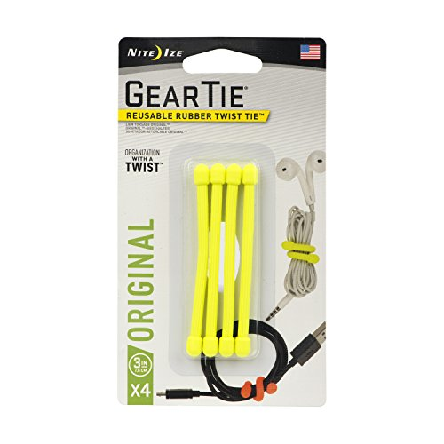 """Nite Ize Gear Tie 3"""" - Neon Yellow 4-pk Kabelbinder, Gelb, S/3 Zoll"""