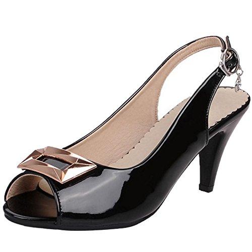 TAOFFEN Femmes Stylish Peep Toe Slingback Sandales Chunky Heel Boucle Black