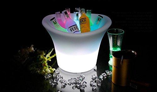 uTronixs Rojo Resistente al Agua LED Cambia de Color batería de Noche Cubo de Hielo para Vino y champán y Cerveza, con Mando a Distancia, Ideal para Bar, Club, Fiesta, Boda y Otras Celebraciones
