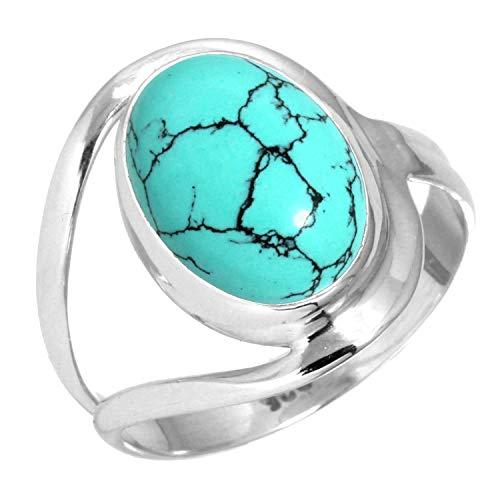 Jeweloporium 925 Sterling Silber Frauen Schmuck Türkis Ring Größe 60 (19.1)