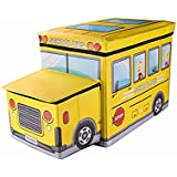 Inditradition Kids School Bus / Sitting Stool / Storage Box / Playing Toy (Multipurpose, Collapsible, Hard Cardboard, Size :
