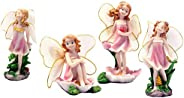 4 Pcs Flower Fairy Figurines Resin Elves Model Girl with Wings Statue Fairy Garden Miniature Moss Landscape DI