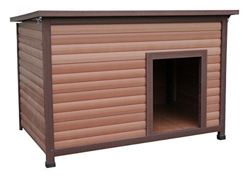 Weather Tuff Wood and Plastic Composite Cabin Style Dog Kennel with Hinged Roof