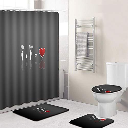 EMG Polyester Fibre Salle De Bain Rideau Salle De Bain Tapis De Toilette Siège Coussin 16 Pièce Set Creative Série D'amou