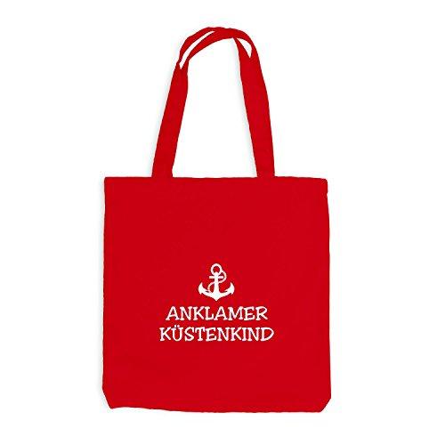Jutebeutel - Anklamer Küstenkind - Anker Anklam Schiffsanker Küste Maritim Rot