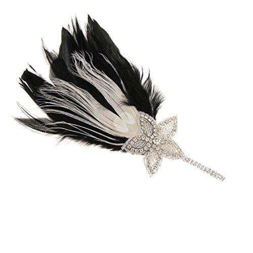 ss Haarreifen Haarband Kopfband Kopfschmuck Haar Accessoires, Feder Gatsby Stil, für Damen zum Cosplay, passt an Kostüm (Rennen Kostüme)