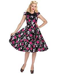 H&R Pink ROSE with SKULL Peter Pan 50s SWING Sleeve DRESS / Kleid