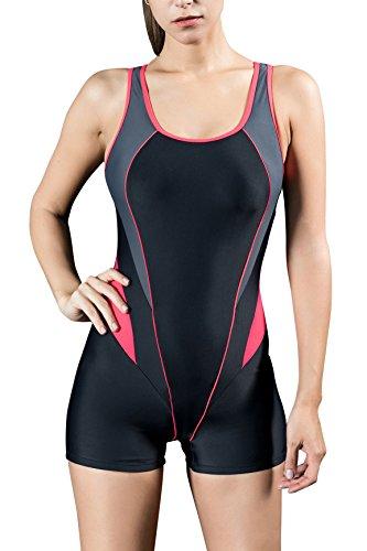 Dolamen Mujer trajes de baño, Bañador Deportivo Traje de Baño de Una Pieza Bañador de natación Bikini Para Mujer, Impresión de la Rayas de la taza incorporada (EU44, Rojo)