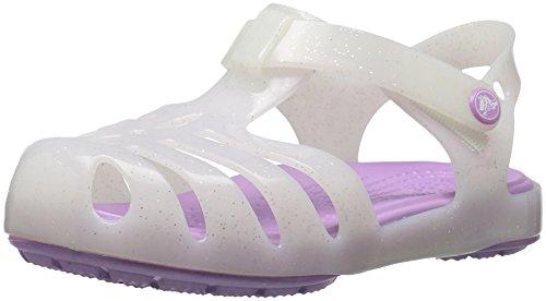 Crocs ragnetto bianco in gomma con effetto glitter, con chiusura a strappo, logo sul retro, bambina, ragazza-19-20