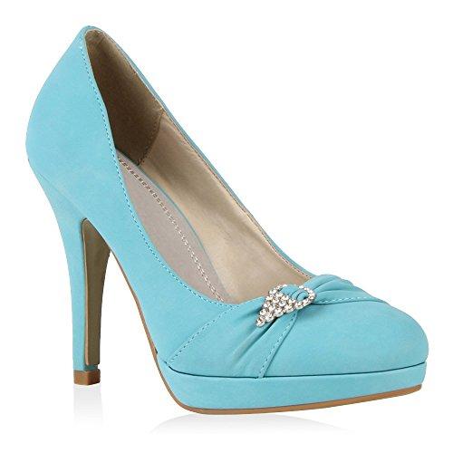 Damen Schuhe Plateaupumps Strass mit Stiletto Absatz NEU