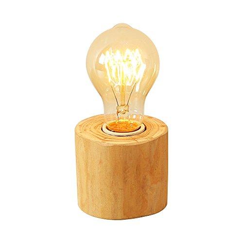 Injuicy Beleuchtung Dachbodenlampen Jahrgang Industriell Hölzern Schreibtisch Lichter Amerikanischen Retro Holz E27Edison Lampen Tisch Akzent auf Bett Cafe Bar Dekoration Korridor zu Balkon - Akzent Tisch Lampe