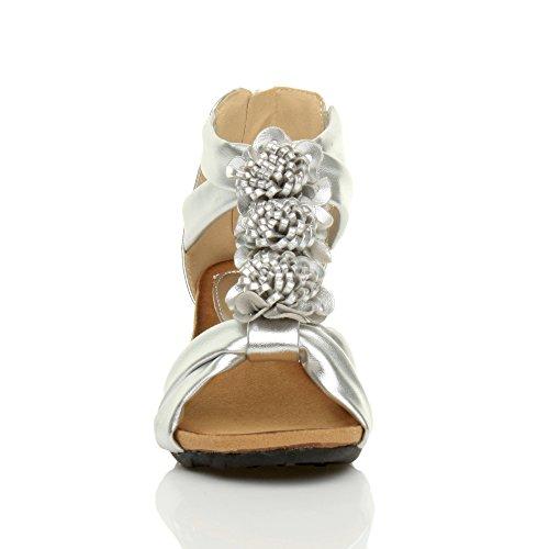 Femmes mi talon compensées bout ouvert t-bar fleur lanières sandale pointure Argent métallique
