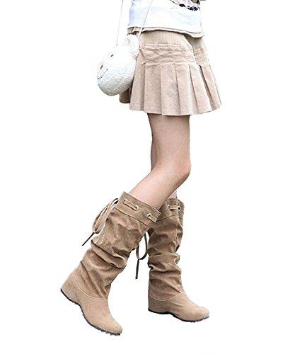 Minetom Donna Neve Stivali Autunno Inverno Calzature Female Moda Flats Half Boots Cachi