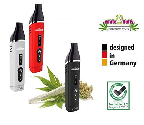 White and Fluffy® Vaporizer Dry Herb Kräuter Verdampfer, stufenlose Temperatur-Regulierung, OLED Display, Test-Note: 1,2 Airistech Herbva VIVA (schwarz)