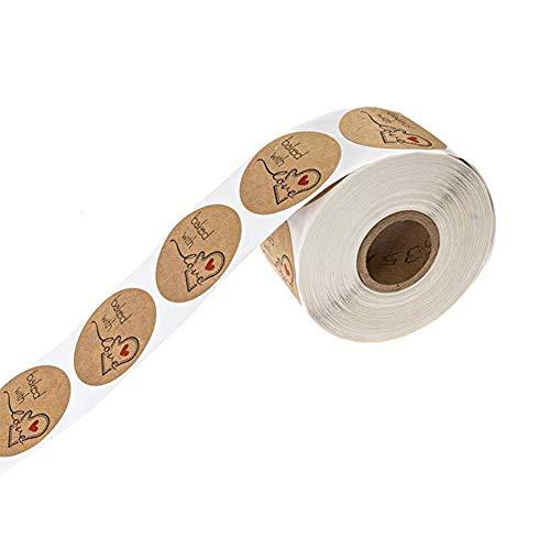 Yunhigh Brown Kraft Sticker 500 Etiketten pro Rolle Aufkleber handgemachte DIY Urlaub Backen Dekoration Geschenkverpackung (Handgemachte Etiketten)