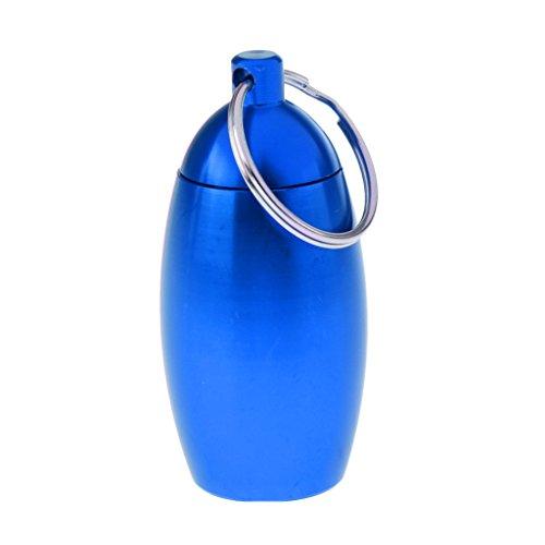 Baoblaze Outdoor metall klein Behälter Container Flasche Pillendose Outdoor klein Aufbewahrungsbox mit Schlüsselanhänger - Blau (Storage Indoor Box)
