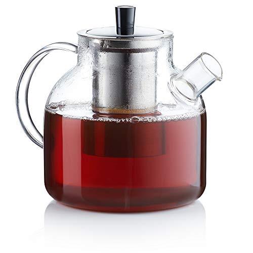 Zoë&Mii Teekanne - Teekanne mit Siebeinsatz - Teekanne mit Tasse - Teebereiter aus Glas 1.5 Liter - Teekessel mit Tasse - Glaskanne für losen Tee und Teebeutel