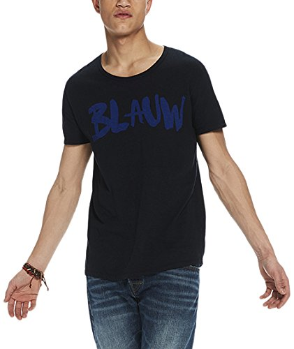 Scotch & Soda Herren T-Shirt Ams Blauw Signature Printed Tee in Regular Fit With Relaxed Blau (Midnight 59)