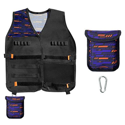 INKERSCOOP 3 Pièces Strike Elite Séries Kit de Gilet Tactique Enfants Guns Nerf Série Elite N-Strike Y compris 1 Gilet Tactique + 1 Pochette de Fléchettes + 1 Crochet, Cadeau pour Garçon et Fille