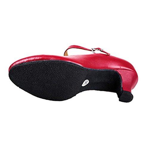Wgwioo Mesdames Carattere Chaussures De Danse À Talons Tutte Le Misure Femmes Ballroom Mary Jane Latin Tango Salsa Dancewear Rouge