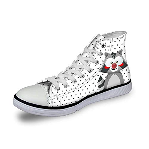 Cute Animal Girls Hi Tops Women High Top Lace Up Trainers Canvas Pumps Plimsolls White+Grey UK 6 Dolce & Gabbana Print-heels