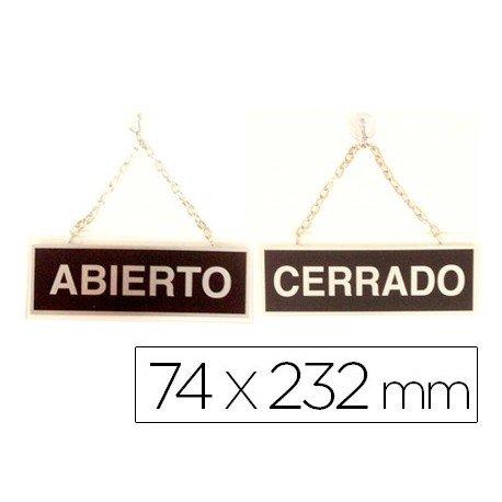 Liderpapel 111 - Letrero metálico serigrafiado abierto y cerrado con cadena y ventosa para colgar