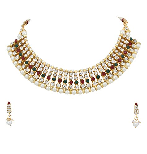 Adoreva Red Green White Gold Plated Alloy Necklace Earrings Set for Women