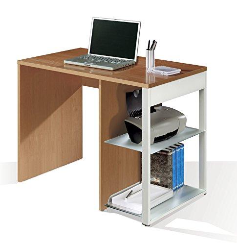 Mesa oficina, ordenador escritorio color cerezo, pata