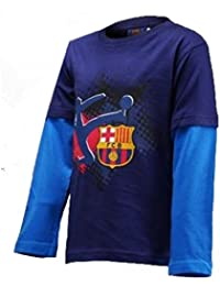 FC Barcelone - Tee shirt manches longues FCB Barcelone bleu enfant - 4 ans,6 ans,8 ans,3 ans,5 ans