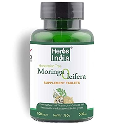 MORINGA Tablets - Pure Moringa Oleifera leaf - 100 tablets - 500mg pure moringa per tablet from Herbs India. Vegan and vegetarian - GMP quality product. Moringa is called the 'Miracle Tree': Good for extra energy and stamina with rich flavanoids. A popula