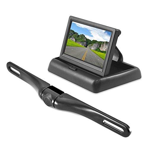 Pyle Universal (4,3 Zoll) Pop-Up Stealth Monitor und Aluminum Chrom Kennzeichen für Rückfahrkamera schwarz