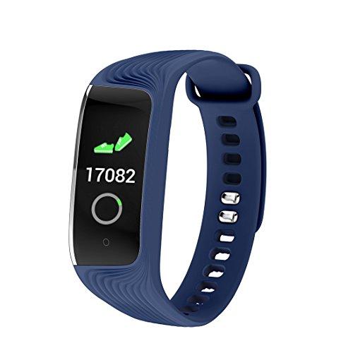 HDWY Smart Armband mit Farbbildschirm Schrittzähler Kalorien Schlaf Monitor Entfernung Sportuhr Walking Lauf App für Frau und Mann (Farbe : Blau)