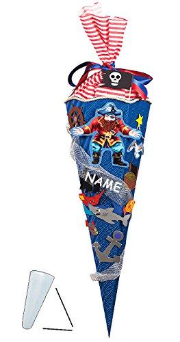 Truhen Für Spielzeug Jungen (Bastelset 3-D Schultüte - Pirat - 85 cm 6 - eckig - incl. Namen - Zuckertüte zum selbst Basteln - für Jungen - Piraten Seefahrer Schatzsucher / Schatz Truhe - Piratenschatz Schatzsucher)