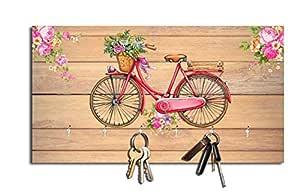 Studio Shubham Floral Cycle Wooden Key Holder (23.4cm X 12.8cm X 3cm, Brown)