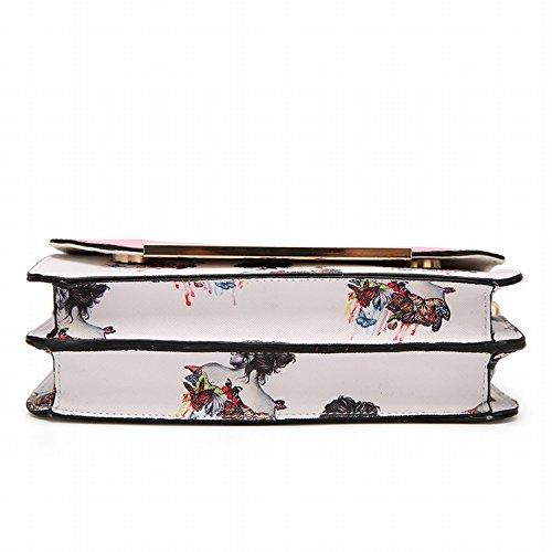 Handtaschen Mode Schulter Messenger Kleine Quadratische Tasche Druckkette Paket Braun