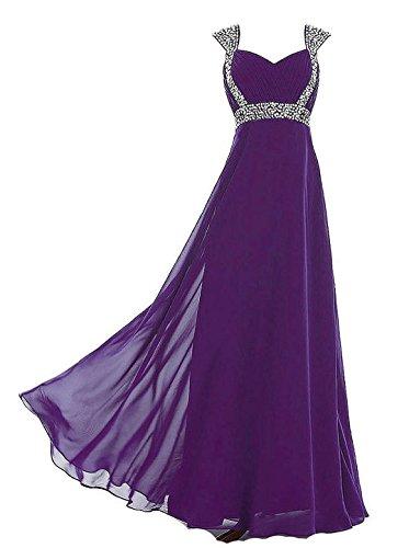 Kmformals Damen Lange Abschlussball AbendKleid Brautjungfer Kleider Größe 52 Lila (Voll Abendkleid Gefüttert Perlen)