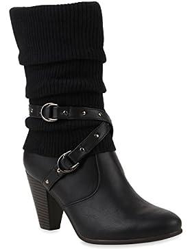 Damen Gefütterte Stiefel | Schnallen Nieten Stulpen | Stiefeletten High Heels | Leder-Optik Schuhe | Trichterabsatz...